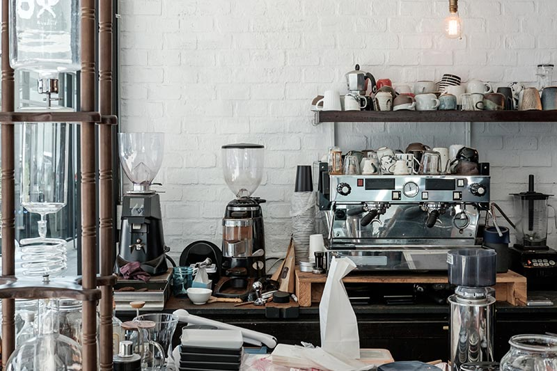 coffee shop with espresso machine on counter