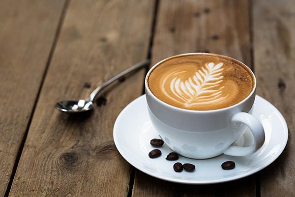 latte on wood table