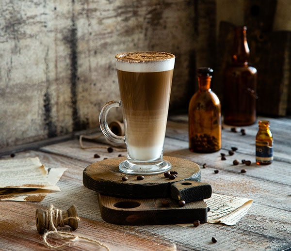 latte in a tall glass