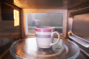 coffee cup in microwave