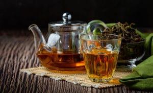 oolong tea in a tea pot